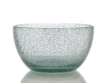 White speckled blown glass bowl