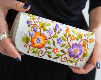 Embroidered Wallet, Floral Bag, Spring Summer Bag, Fabric Bag, Indian Ethnic Bag, Small Clutch, Sunglasses Holder, Reading Glasses Holder