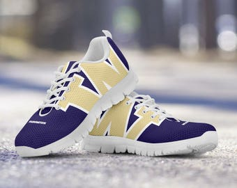 Washington Huskies Football Fan Custom Running Shoes/Sneakers/Trainers - Ladies + Mens Sizes fan, collector, gift
