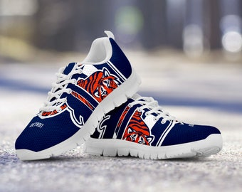 Detroit Tigers Baseball Fan Custom Running White Shoes/Sneakers/Trainers - Ladies + Mens Sizes