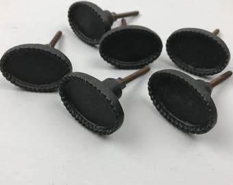 Set 6 x Metal Black OVAL KNOBS  with a raised beaded edge - Knob Home decor drawer pull