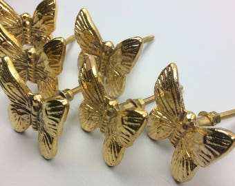Set of 6 Pretty GOLD coloured Butterfly metal knobs - home decor shabby chic upcycle drawer pull