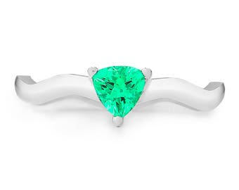 The Sydney Ring - Lab Grown Emerald 14K White Gold