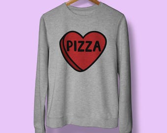 Pizza Jumper Cheese Food Funny Cute I Love Unisex Sweatshirt - Navy Charcoal Black Slogan Quote Sweater - Love Heart - Graphic Design Jumper