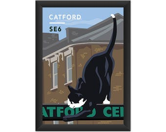 Catford Cat SE6 - Giclée Art Print - South London Poster