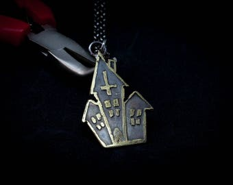 Handmade brass Haunted House Pendant.  Horror, Goth, Witchcraft, Occult, Satan, 666, Wicca.