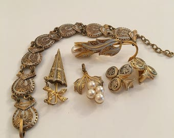 Damascene 1940's 5 piece jewellery set