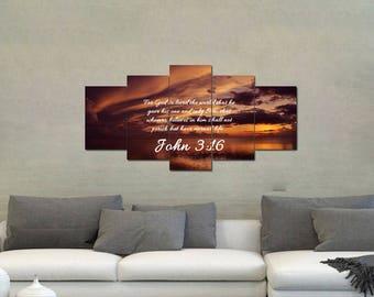 John 3:16 #8 NIV 'For God so Loved the World' Scripture Christian Wall Art, Bible Verse Canvas, Christian Canvas, Bible Verse Wall Art