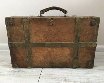 Antique Wooden Trunk - Wooden Steamer Trunk - Wood with brass trunk - Small Trunk - Wooden Chest -