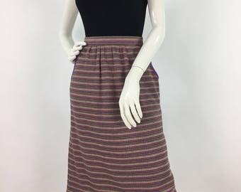 Vintage Grove skirt/1970s striped skirt