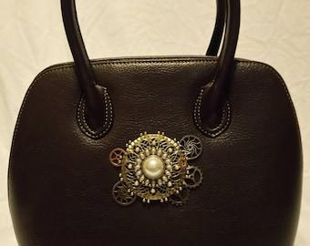 Brown leather steampunk vintage purse