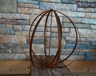 Bandsaw Blade Sphere Ball Rust Sculpture Indoor or Outdoor