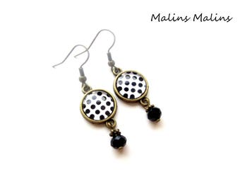 Black and white polka dot earrings bronze