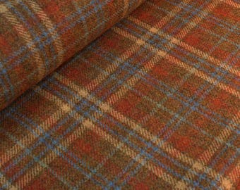 Brazil Nut Wool Plaid Fabric - per metre