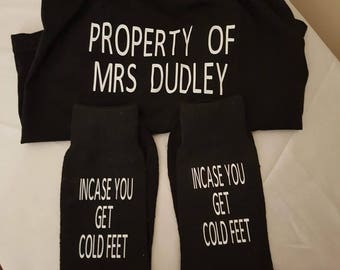 Personalised boxer shorts and socks.