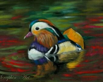 Mandarine Duck Original Wildlife Pastel Painting
