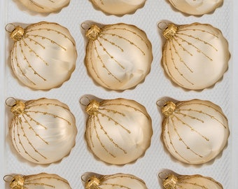 "Navidacio 12pcs Christmas Balls Ornaments Set ""Ice Champagne Gold"" Drops New"