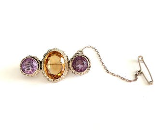 Antique Victorian Sterling Silver Citrine & Amethyst Stone Pin Brooch