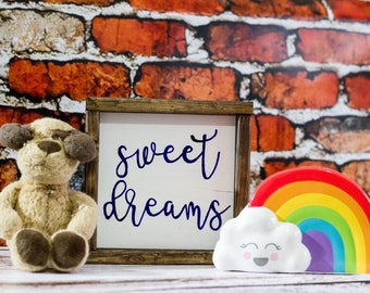 Sweet Dreams Nursery Decor Woodland Nurser Wall Decor Baby Room Decor Baby Shower Gift Kids Room Decor Childrens Wall Art Farmhouse Decor
