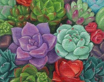 Succulent Garden 6x6 Acrylic Painting