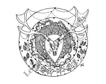 Mandala Crâne de boeuf à colorier et à imprimer vous-même - mandala - zentangle - anti-stress -fait main - crâne - coloriage - détente