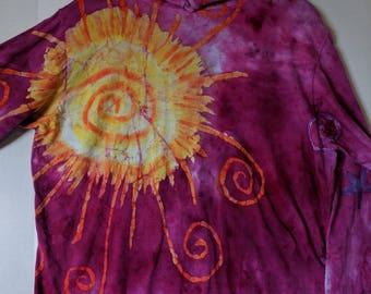 Sun and Moon batik lightweight hoodie