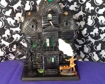 Lg. Haunted House, Halloween ,lighted ,upcycled, recycled