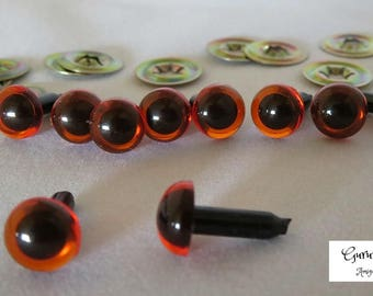 9mm Amber Color Round Safety Eyes with Black Pupils with metal washers 10ct- 5 pairs / amigurumi / dolls / animals / crafts/ craft eyes