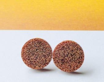 Bronze/Brown Glitter Earrings