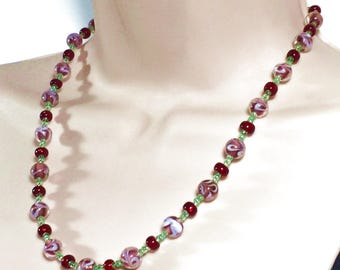 Vintage-Style Pale Magenta Pink, Cranberry Red and Mint Green Beaded Necklace