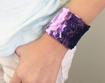 Reversible Sequin Mermaid Kids Braclet, Double Sided Sequins, Girl Accessory, Draw on Sequins, Fidget, Sensory tool, turquoise and purple