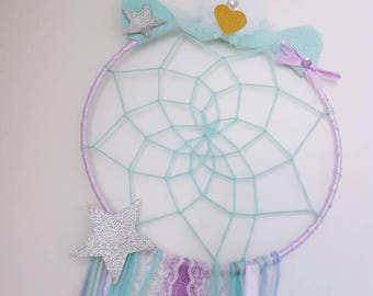Beautiful handmade pastel green and purple unicorn Dreamcatcher
