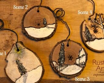 MEDIUM Artisan Wood-Burned Ornament  | Reclaimed Wood Christmas Ornament | Hostess Gift