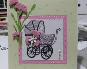 Baby girl card, popup baby card, pink baby card.