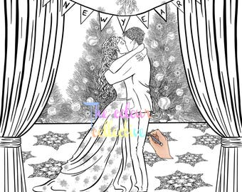 Christmas adult colouring page new year kiss download digital print
