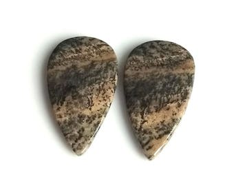 Honey Dendritic Pear Pair Cabochon,Size- 29x17 MM, Natural Honey Dendritic, AAA,Quality  Loose Gemstone, Smooth Cabochons.