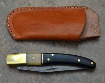 Damascus Steel Pocket Knife with Real Bull Horn Handle (LG 01)