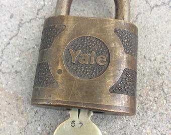 Vintage Yale Brass Lock with Key
