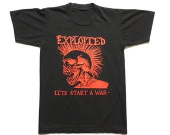 """90s The Exploited """"Let's Start A war"""" vintage band shirt-S-GBH, The Casualties, Subhumans, UK Subs, Punk, Discharge, Sham 69, Chaos UK"""