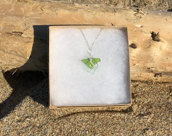 Two Piece Pescadero Sea Glass Necklace with Sterling Silver Chain