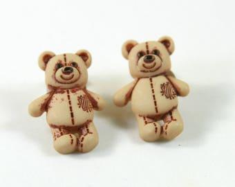 Bear studs, Bear earrings, Brown bear earrings, Bear jewelry
