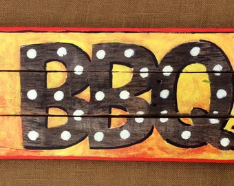 Bbq sign,barbeque art for home,patio or restaurant,colorful and Handpainted on rustic reclaimed wood