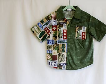 Boys Button-up Shirt - Army