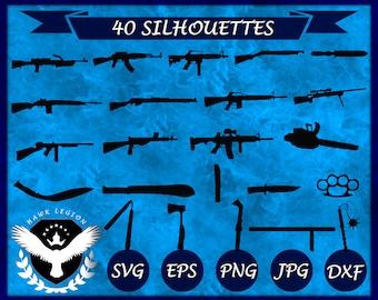40 Gun Silhouette | Gun Clipart | Gun SVG | Gun Vector | Gun Decoration | Gun Printable | Gun Cut File | Gun Wall Print | Instant Download