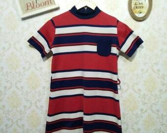 1960's Vintage Red Blue White Strip Single Pocket Dress XS Size
