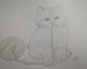 Kitten Playing with Wool Pencil Drawing