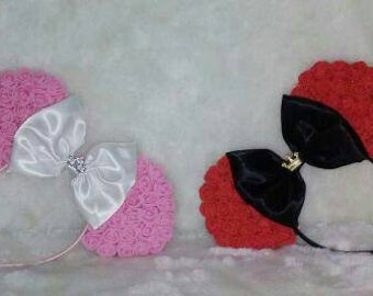 Floral Minnie Mouse Ears With Satin Bow Choose Your Custom Colours!