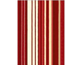Believe In The Season 100% premium cotton fabric in Red/Cream Stripe by Sue Zipkin for Clothworks