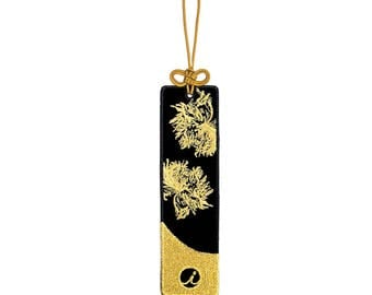 ICONA Garden Series Embroidered Bookmark - Poppy (Gold / Black)