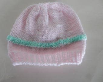 Knitted pink baby hat